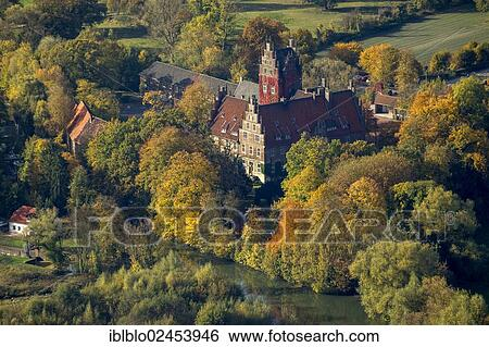 Stock Images Of Aerial View Schloss Heessen A Moated Castle Used