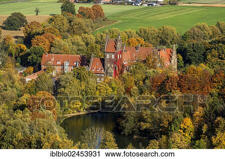 Stock Photography Of Aerial View Schloss Heessen A Moated Castle