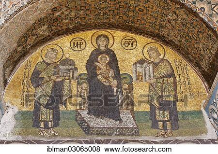 Pictures Of Byzantine Mosaic Of The Virgin Mary Between Justinian