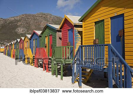 Colourful Beach Houses In Muizenberg Cape Town Western South Africa Stock Photo