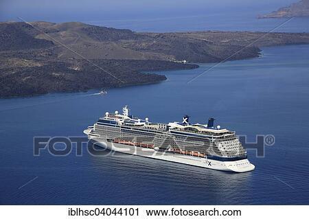 Cruise Ship In The Caldera Crater Of Nea Kameni Volcanic