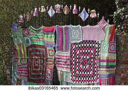 Stock Image Of Knitted Iron Gate With Granny Square Pattern