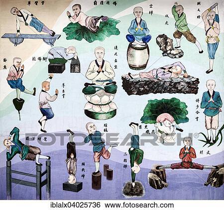 Kung Fu Pratica Desenhos De Shaolin Monges Parede Mural