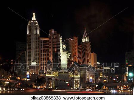New York New York Hotel And Casino At Night Las Vegas Nevada Usa