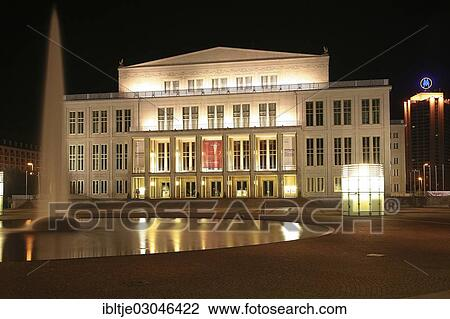 Opera House Augustusplatz Square With A Fountain Night Scene Leipzig Leipzig Saxony Germany Europe Stock Image Ibltje03046422 Fotosearch