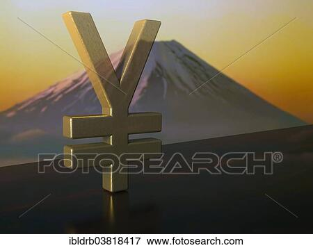 Picture Of Yen Currency Symbol Made Of Bronze On Ebony