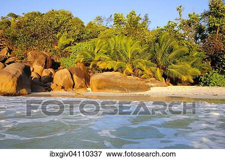 Beach In The Evening Light Anse Lazio Praslin Seychelles