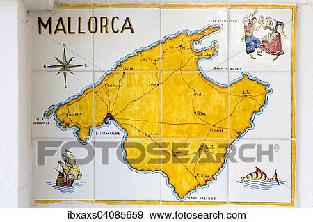 Map Of Spain Majorca.Map Of Majorca On Tiles Santanyi Majorca Balearic Islands Spain Europe Stock Photo