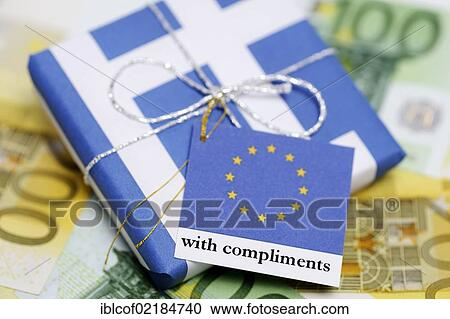 Stock photography of package wrapped in a greek flag with a greeting package wrapped in a greek flag with a greeting card from the eu symbolic image of the aid package for greece m4hsunfo