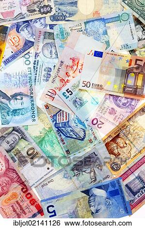 Banknotes Diffe Currencies From Around The World Foreign Exchange Stock Photograph