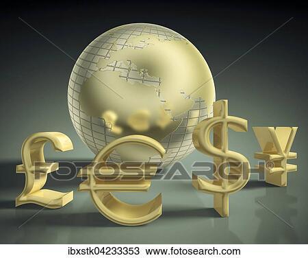 Globe Mondial Devises Dollar Livre Euro Et Yen Banque D Image