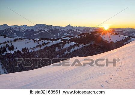 Winter Mood On The High Alp Overlooking Mt Rigi And Eastern Switzerland Appenzell Swiss Alps Switzerland Europe Publicground Europe Stock Image