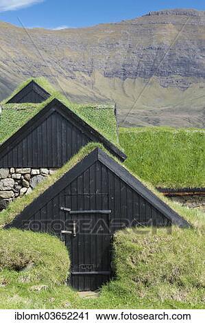 Archivio fotografico - tradizionale, torba, case, legno, case, con ...