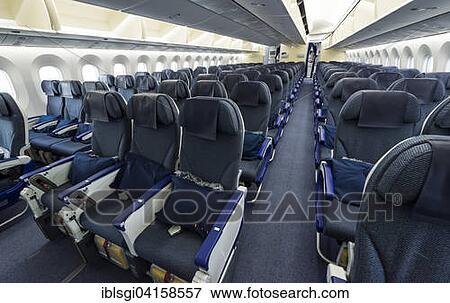 Bild - wirtschaft, klasse, sitze, innenseite, a, boeing, 787-9 ...