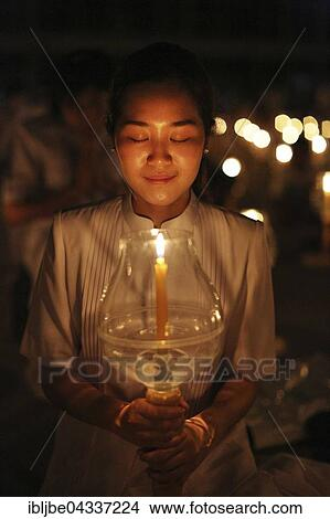 Young Woman Holding Candle Festival Of Lights Candle In Glass
