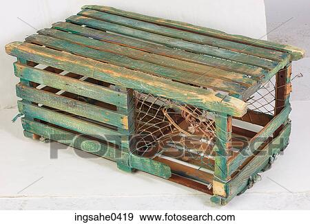 Green Wooden Lobster Trap 3 Stock Photo