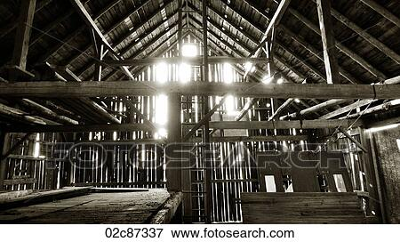 Interior Of Old Unused And Abandoned Rural Barn Structure