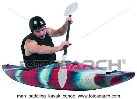 stock photography of man paddling kayak canoe