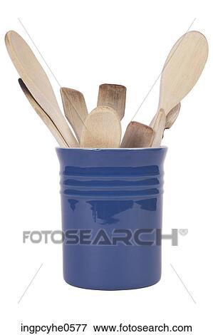 Image Bleu Porcelaine Pot De Plastique Ustensiles Cuisine