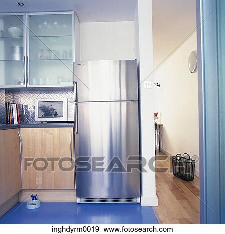Archivio fotografico - vista, di, uno, moderno, cucina, con, uno ...