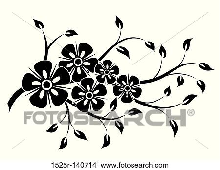 Drawings Of Decorative Floral Element For Design Vector 1525r