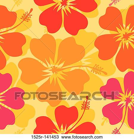 Hibiscus Seamless Pattern Vector Drawing 1525r 141453 Fotosearch