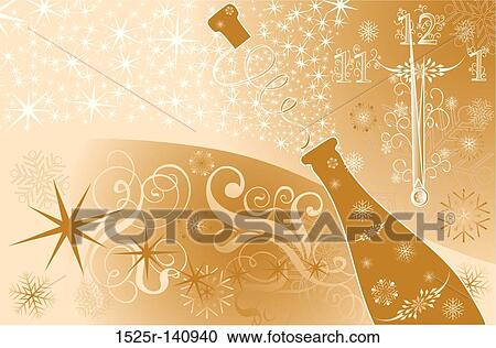 new years background with clock and sparks of a champagne vector