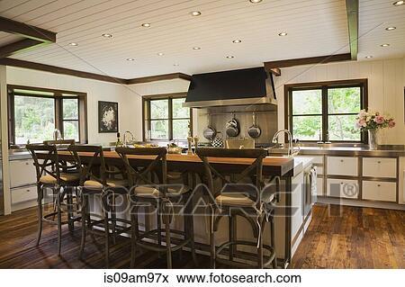 Modernes, Inneneinrichtung, Luxus, Landhausstil Küche, Mit, Kueche, Insel,  Und, Hölzerner Stock