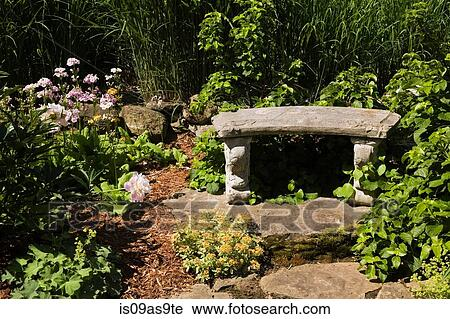 Stock photography of border with romanesque garden bench and border with romanesque garden bench and perennial plants flowers and shrubs in spring season mightylinksfo