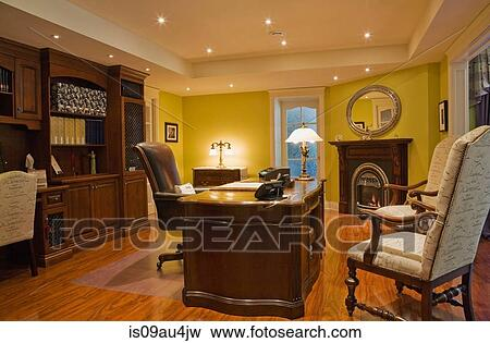 Wooden Desk Chairs And Wall Unit