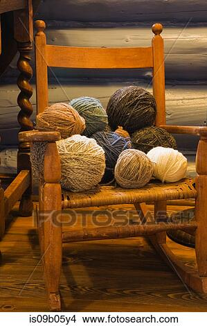 Marvelous Balls Of Wool On Small Old Wooden Rocking Chair In Bedroom Onthecornerstone Fun Painted Chair Ideas Images Onthecornerstoneorg