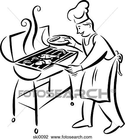 Clip Art Of Barbecue Grill Bw Ski0092