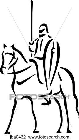 Clip Art Of Knight On A Horse Bw Jba0432