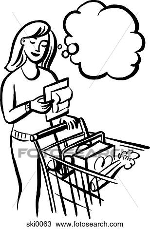 drawing shopping list bw fotosearch search clipart illustration fine art prints