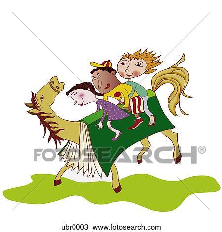 Bambini Sentiero Per Cavalcate Uno Cavallo Con Uno Libro Come