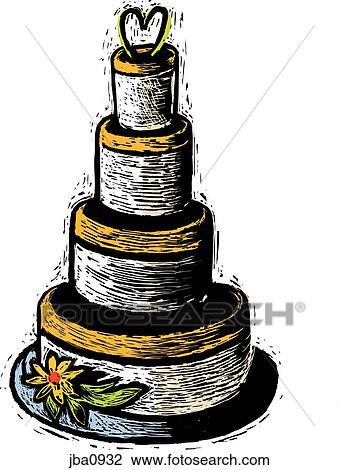 Hochzeit Kuchen Zeichnung Jba0932 Fotosearch