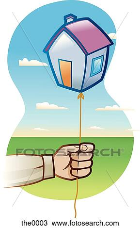 Man holding a balloon in the shape of a house Drawing