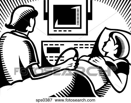 Banque D Illustrations A Docteur Executer Echographies Sur A