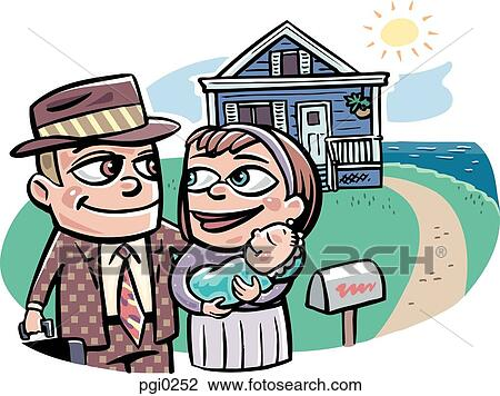 clip art of a family standing in front of their new home pgi0252 rh fotosearch com new home clip art free new home clip art border