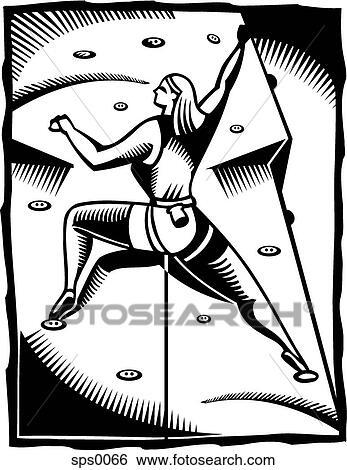 A Noir Blanc Dessin De A Femme Participer Dans Une Intérieur Mur Escalade Banque Dillustrations