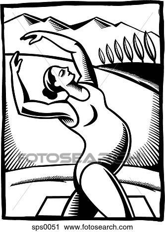 A Noir Blanc Dessin De A Femme Enceinte Faire A étirage Exercice Clipart