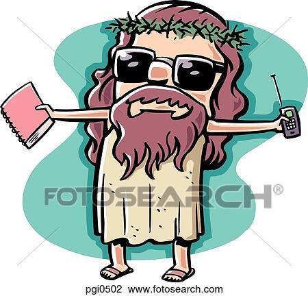 clip art of a picture of modern jesus complete with cell phone and rh fotosearch com modern clipart modern clipart black and white