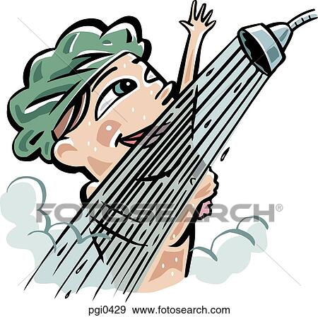stock illustration of a woman taking a shower pgi0429 search rh fotosearch com  boy taking a shower clipart