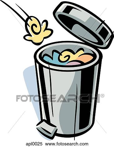 stock illustration of cartoon drawing of a trash can apl0025 rh fotosearch com garbage can clipart free trash can clip art free