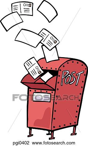 clip art of drawing of a red mail box with letters flying out