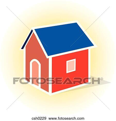 赤 家 で 青 屋根 イラスト Csh0229 Fotosearch