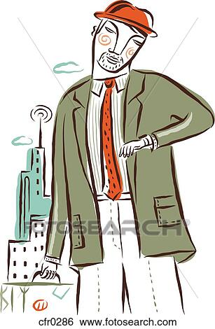 남자 에서 A 녹색의 옷 보는 그의 것 시계 와 서류 가방을 드는 것 스톡 일러스트