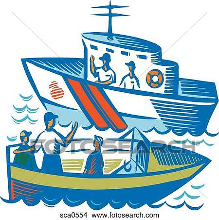 drawings of a family traveling by boat talking to members of the rh fotosearch com coast guard clipart coast guard day clipart