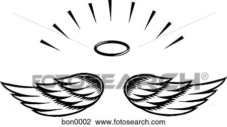 clip art of illustration of angel wings bon0002 search clipart rh fotosearch com angel wings clip art free download angel wing clip art for cricut cutout