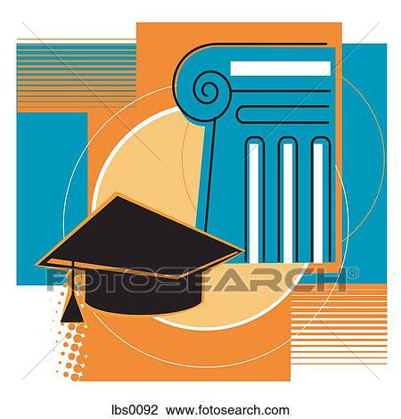 A graduation cap in front of a law building Drawing